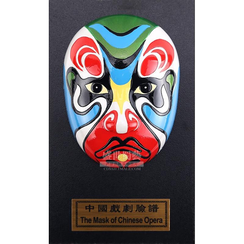 15cm Height Peking Opera Mask Xuzhu Table Wall Decoration Folk Handicraft Furnishing Articles Chinoiserie Gifts