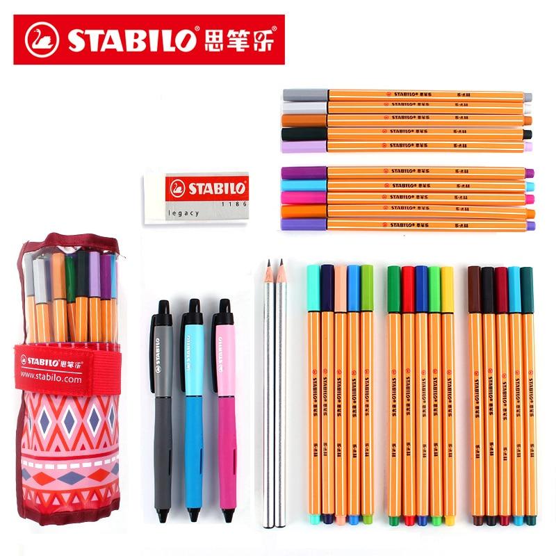 Stabilo 0.4mm Fiber Pen 25 Colors Art Marker Needle Tip Gel Pen with Bag for Sketching Manga Design School Art SuppliesStabilo 0.4mm Fiber Pen 25 Colors Art Marker Needle Tip Gel Pen with Bag for Sketching Manga Design School Art Supplies
