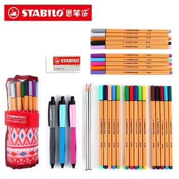 Stabilo 0,4mm fibra pluma 25 colores arte marcador aguja punta Gel pluma con bolsa para dibujar Manga Diseño Escuela suministros de arte