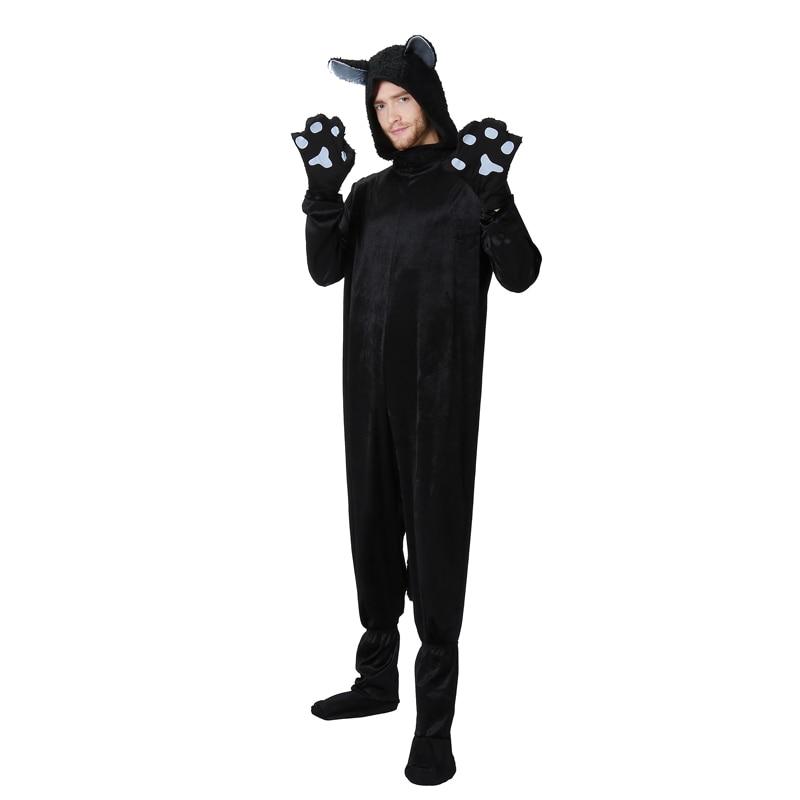 Adult Man Black Cat Mascot Fleece Funny Halloween Family Group Costume Idea Animal Pokemon Cosplay Hoodie Jumpsuit Plus Size