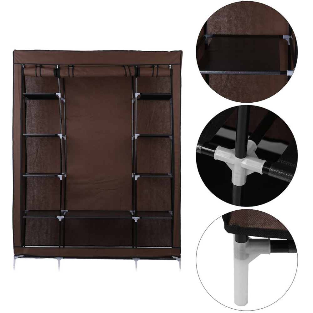 Large DIY Canvas Bedroom Wardrobe Clothes Closet With Hanging Rail Shelving Clothes Storage Organizer Unit Brown NEW 20 cubes interlocking modular storage organizer shelving closet wardrobes rack with doors for home clothes shoes toys storage