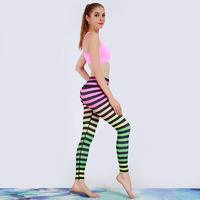 Stripe Design Yoga Pants Sports 2017 Sexy High Waist Stretched Gym Clothes Spandex Running Tights Women