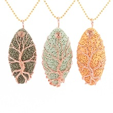 Gold Color Tree of Life Wire Wrap Water Drop Necklace & Pendant Reiki Natural Gem Stone Purple Blue Lava Volcanic Jewelry D335