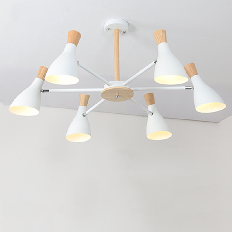 Nordic Simple Modern Solid Wood E27 Led 220V Aluminum Chandelier For Living Room Bedroom Study Creative Personality Bedroom