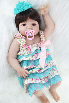 "22"" Full Silicone Reborn Baby Princess Girl Lifelike 55cm Vinyl Bebe Newborn Toddler Dolls Waterproof Body Birthday Gift"