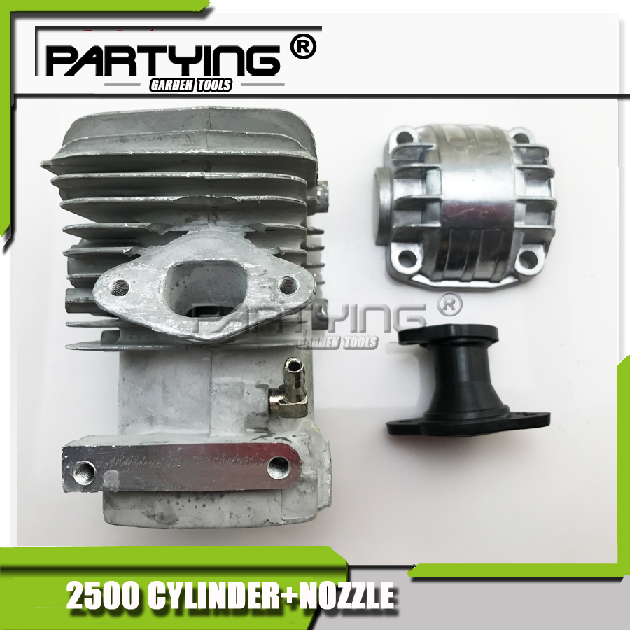 PARTYING  Assembly 2500 25CC Chainsaws CYLINDER +BOTTOM COVER+NOZZLE FREE SHIPPING IN STROKE chainsaw crank crankshaft kom62 6200 62cc chainsaws metal parts black free shipping in stroke free shipping pt62 09