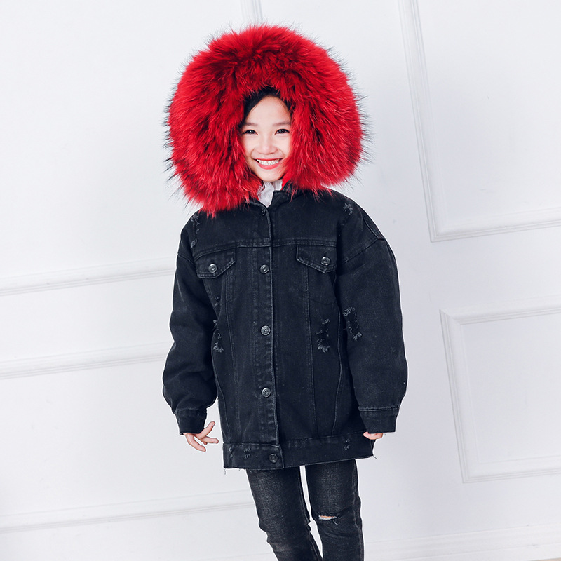 Children Big Fur Collar Winter Fur Jacket For Girls Winter Children Outwear Real Raccoon Fur Coat Thick Warm Baby Boys Parkas цена