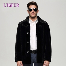 LTGFUR 2016-2017 New Men's Long Section mink coat, buttoned Lapel mink fur coat.