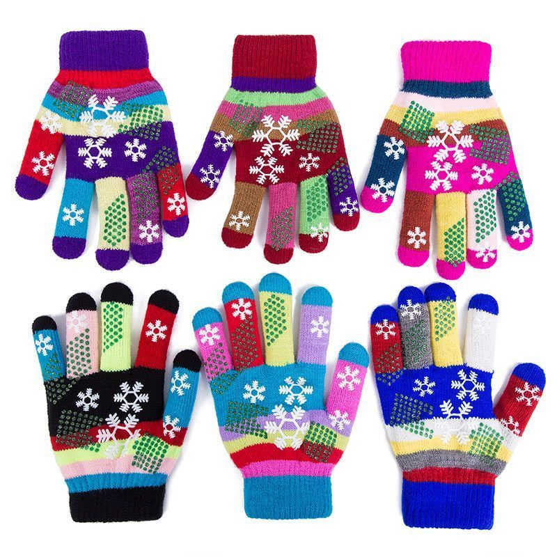 Snowflake Shape Autumn Winter Gloves Kids Knitting Full Finger Double Layer