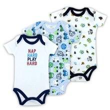 3PCS 100%Cotton Infant Body Short Sleeve Clothing Similar Jumpsuit Printed Baby Boy Bodysuits