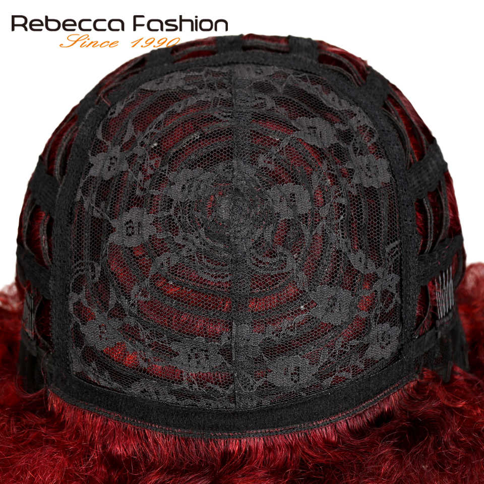 Rebecca короткий бразильский афро кудрявый парик цвет SO99J 530 130 красный Remy человеческие волосы кудрявые вьющиеся парики без тесьмы для женщин