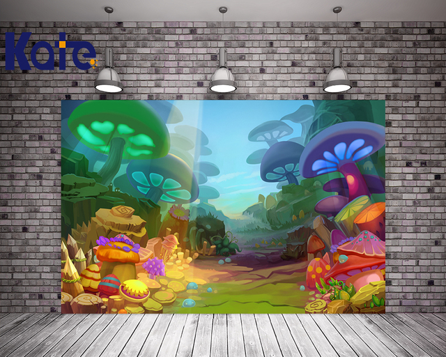 Kate Digital Cute Children Photography Backgrounds Colorful Mushroom Forest Photo Backdrop For Newborn Studio Background