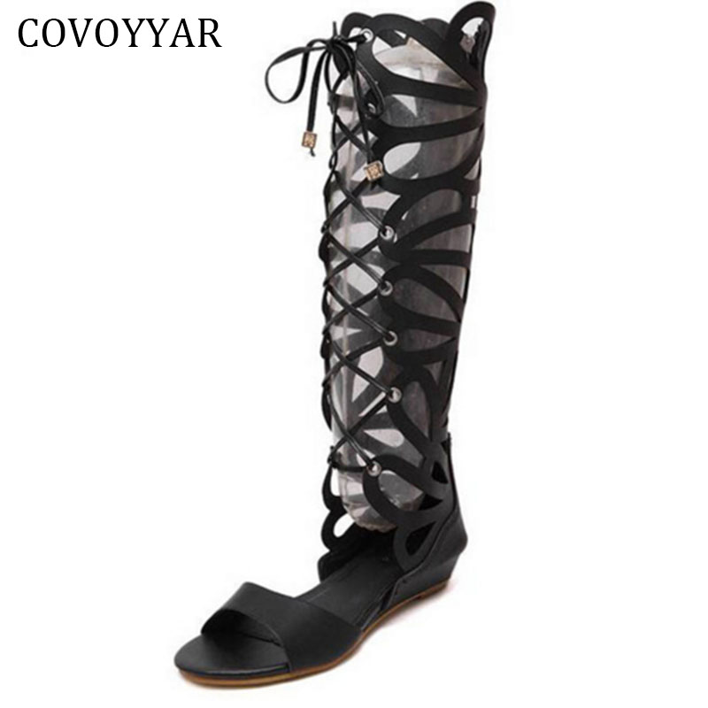 Knee High Gladiator Sandals 2018 British Cross Tied Wedges Women Sandals Open Toe Cut Out Wedge Women Shoes Size 40 WSS199 2017 hot shoes women knee high gladiator sandals hollow jacket size 35 40 summer open toe black white flat sandals women