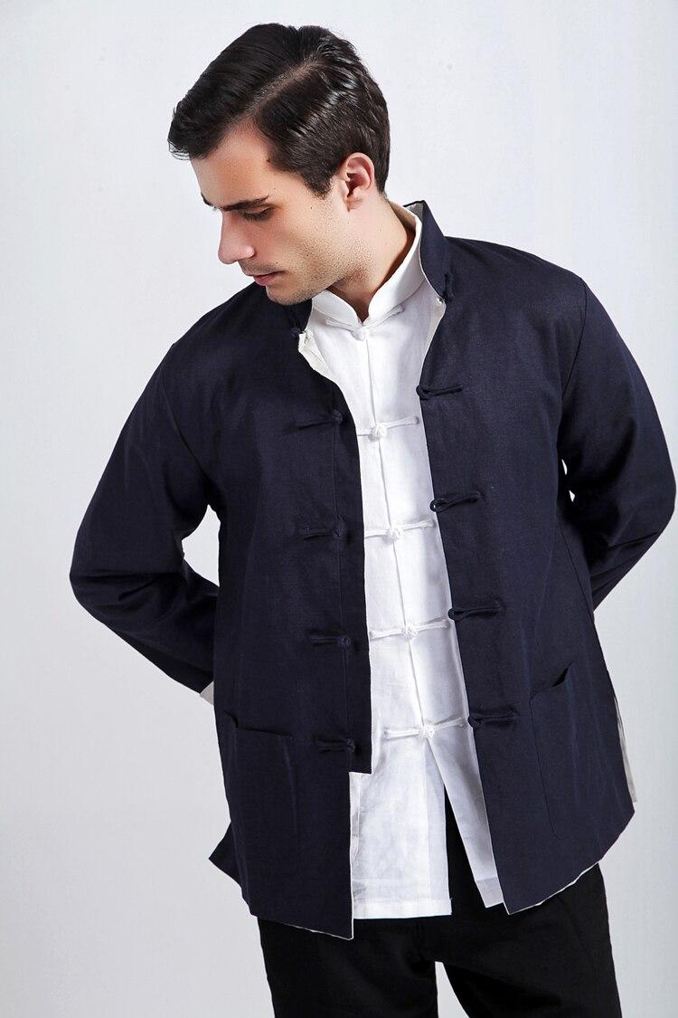 20104b2d3c1 blue and beige Handsome Chinese Men s cotton linen double-face jacket coat  Sz  M L XL XXL XXXL