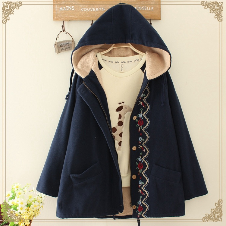Japanese forest embroidery vintage giacche donna harajuku chaqueta mori  girl hoodie thick warm women autumn winter coat jacket 9270af194b6e0