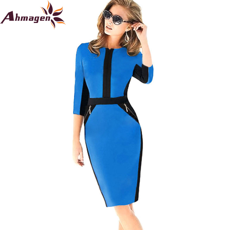 Front Zipper Women Work Wear Elegant Dress Bodycon Pencil Midi Spring Business Casual Office Dresses Womens Clothing 2017 In From S
