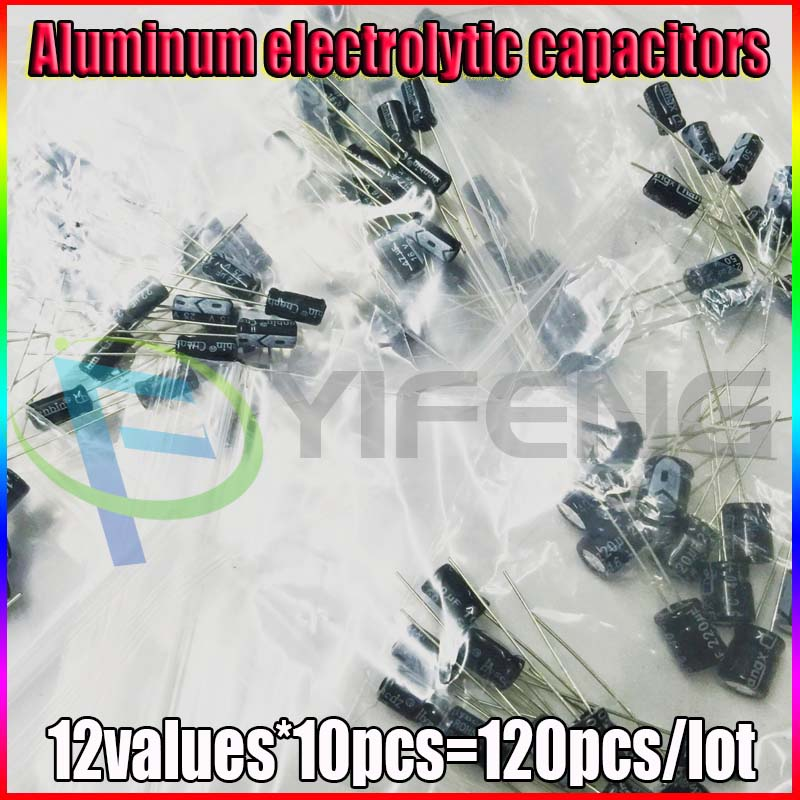 set of 120pcs 12 values 0.22UF-470UF Aluminum electrolytic capacitor assortment kit set pack