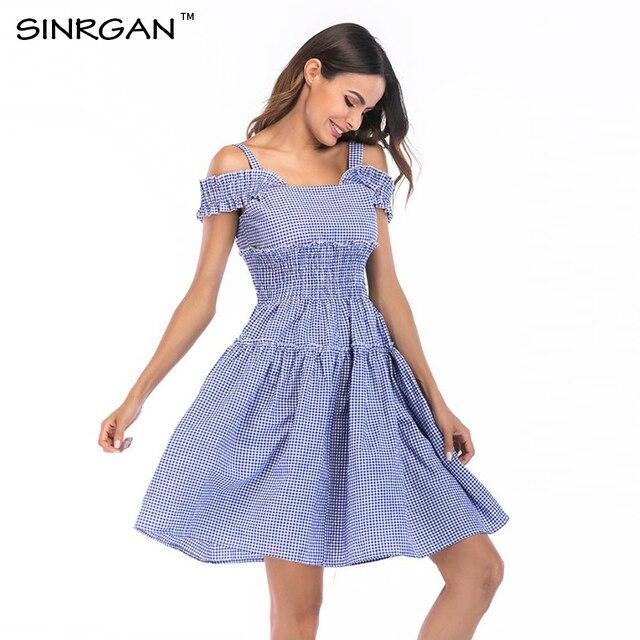 f523163dfe71 SINRGAN sexy dress women stripe club party dress beach dress clothes off  shoulder t shirt dress