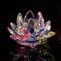 9 CM Verre Cristal de Quartz Fleur De Lotus De Mode Feng Shui Presse-papiers Pour La Maison Décoration De Mariage Pièce Maîtresse Parti Souvenirs Cadeau