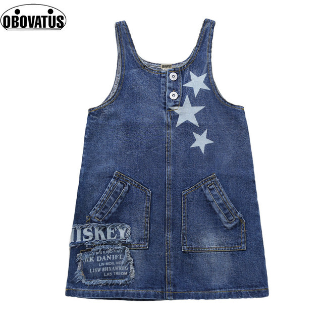 cc341dc91 High Quality Girls Summer Denim Overall Dress With Belt Star Print Children Girl  Denim Clothes 4 5 7 9 11 13 Years Girl Clothing