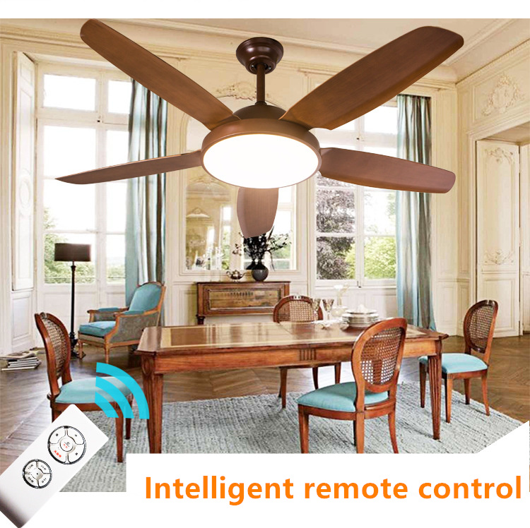 high quality Industrial ceiling fan lamp American color dimmin fan light simple wooded indoor lighting 110V/220V