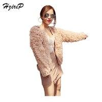 HziriP Plush Mulheres Casaco de Outono 2017 Sólidos Quentes casacos de Moda Para Senhoras Full-Cáqui de mangas compridas O Pescoço Casual Ponto de Malha casacos