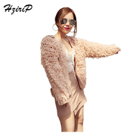 HziriP Plush Coat Women Autumn 2017 Solid Warm Fashion Jackets For Ladies Full Sleeved Khaki O
