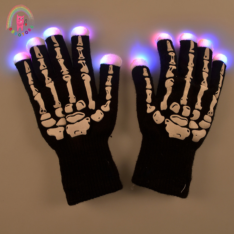 LED luminous skull gloves Christmas Halloween bar applicable props seven colors randomly change the light-emitting horror toy
