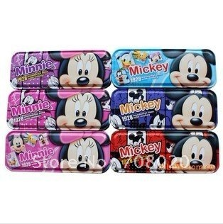 Mickey and Minne Metal pencil box two-layer 12pcs/lot Stationary case writing case