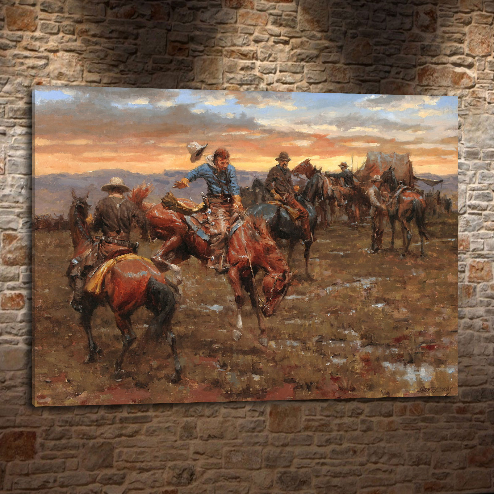 Andy thomas western landscape cowboy style gift canvas painting living room bedroom home decor modern wall art oil painting 007