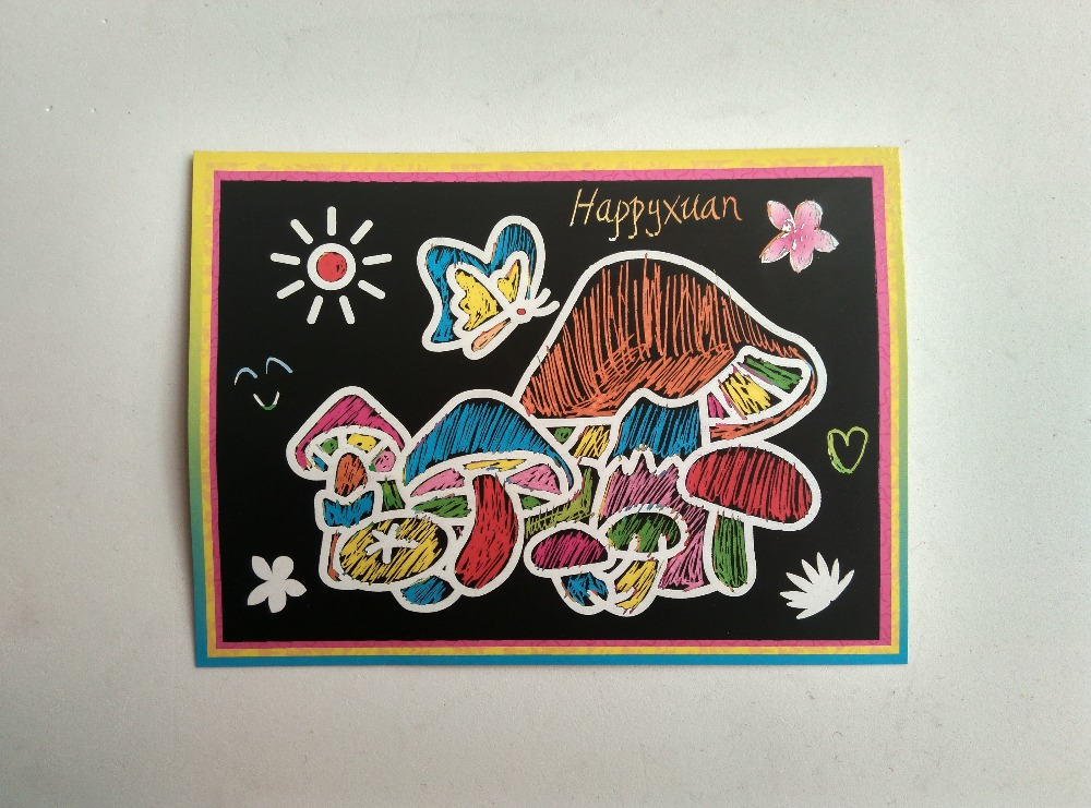 Happyxuan pcs/lot 13*9.5cm Two-in-one Magic Color Scratch Art Paper Coloring Cards Scraping Drawing Toys for Children 4