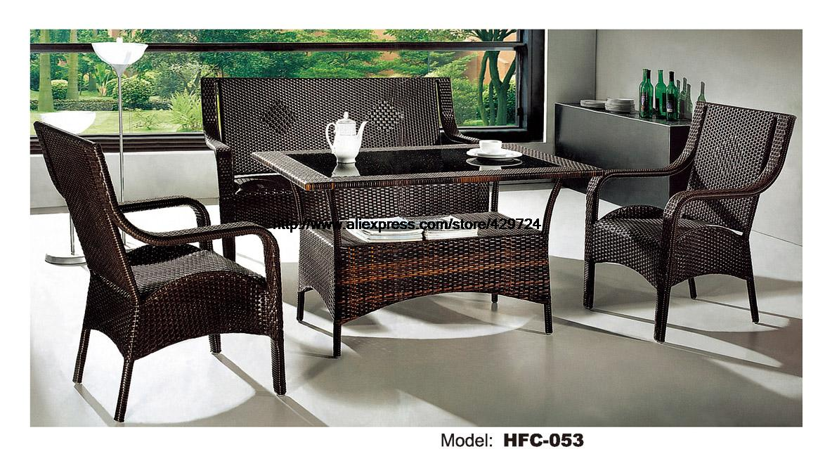 Low Price Rattan Sofa Chair Table Set Hot Sale Wicker Gardern Furniture 1.2M Table Rattan Sofa Chair Stool Combination Factory brown wicker outdoor lounge chair set with corner table sale
