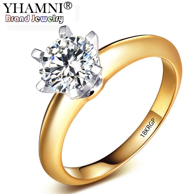 17b09d8580da Yhamni 18 krgp sello original puro color amarillo anillo de oro natural  solitario 8mm 2ct Sona piedra compromiso de boda Anillos para las mujeres  en Anillos ...