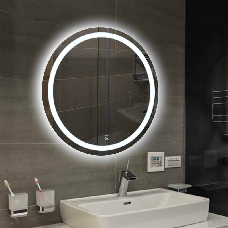 Bathroom wall LED light mirror round wall hanging washroom toilet makeup mirror touch switch White warm light mx12151606 1
