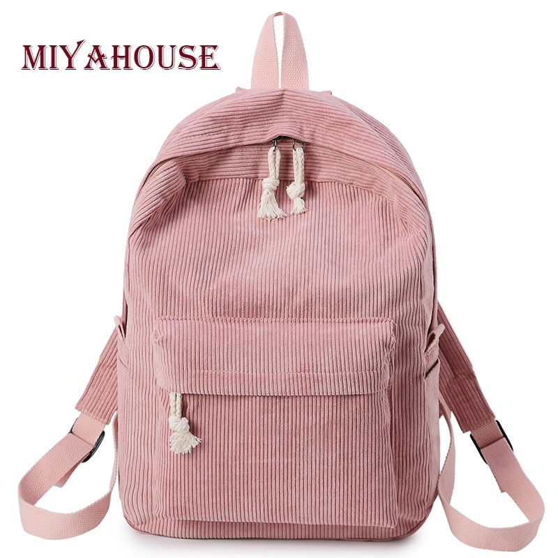 Miyahouse Women Solid Color Corduroy Fabric Backpack Fashion School Rucksack For Teenage Girls Fashion Ladies Striped Rucksack