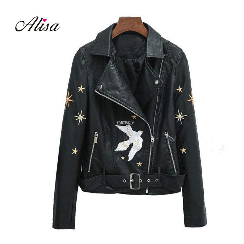 New Fashion Heavy Industry Embroidery Womens   Leather   Jacket Autumn Belt Pu   Leather   Coat Slim Locomotive   Leather   Jackets 2019