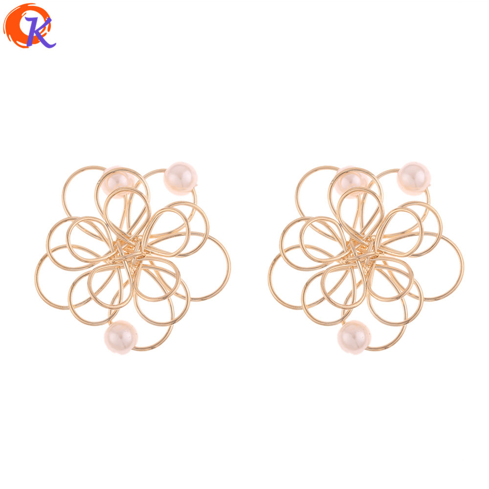 Cordial Design 50Pcs 30*30MM Jewelry Accessories/Earrings Making/Flower Shape/DIY/Imitation Pearl/Hand Made/Earring Findings