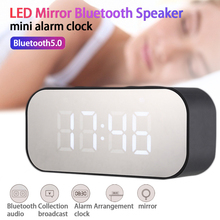 Bluetooth Speaker LED Mirror Clock Music Sound Box With Mirror Desk Clock AUX TF USB Music Player for Home Office Bedroom