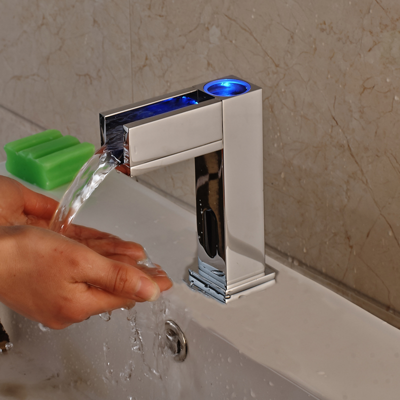 Newly Style Chrome Hands Free LED Spout Bathroom Sink Faucet ...