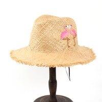 100% Rafya Saman Yaz Kadınlar Disket Geniş Brim Plaj Seyahat İşi Ile Püskül Nakış Kuş Panama Güneş Şapka Sunbonnet