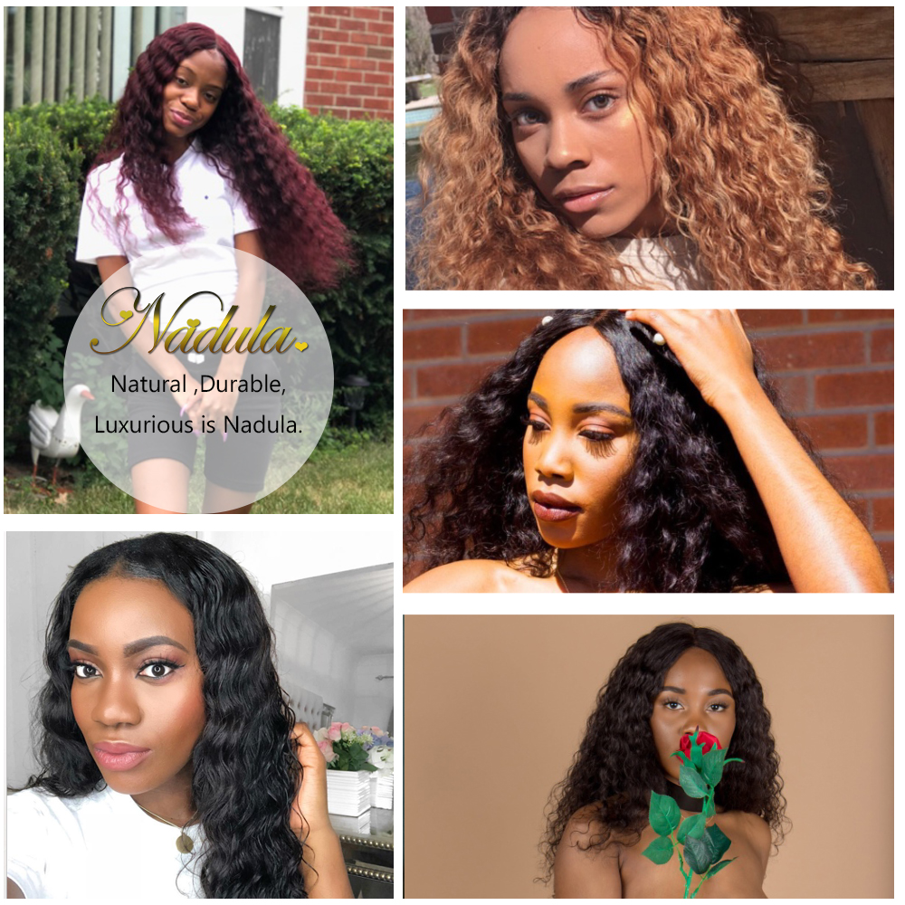 Nadula Hair With Closure Deep Wave  With Lace Closure 100%  Bundles With Closure Natural Color  Hair 6