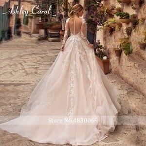 Image 2 - アシュリーキャロルセクシーな v ネックアップリケチュールウェディングドレス 2020 イリュージョン背中長袖プリンセス自由奔放に生きる花嫁レースのウェディングドレス