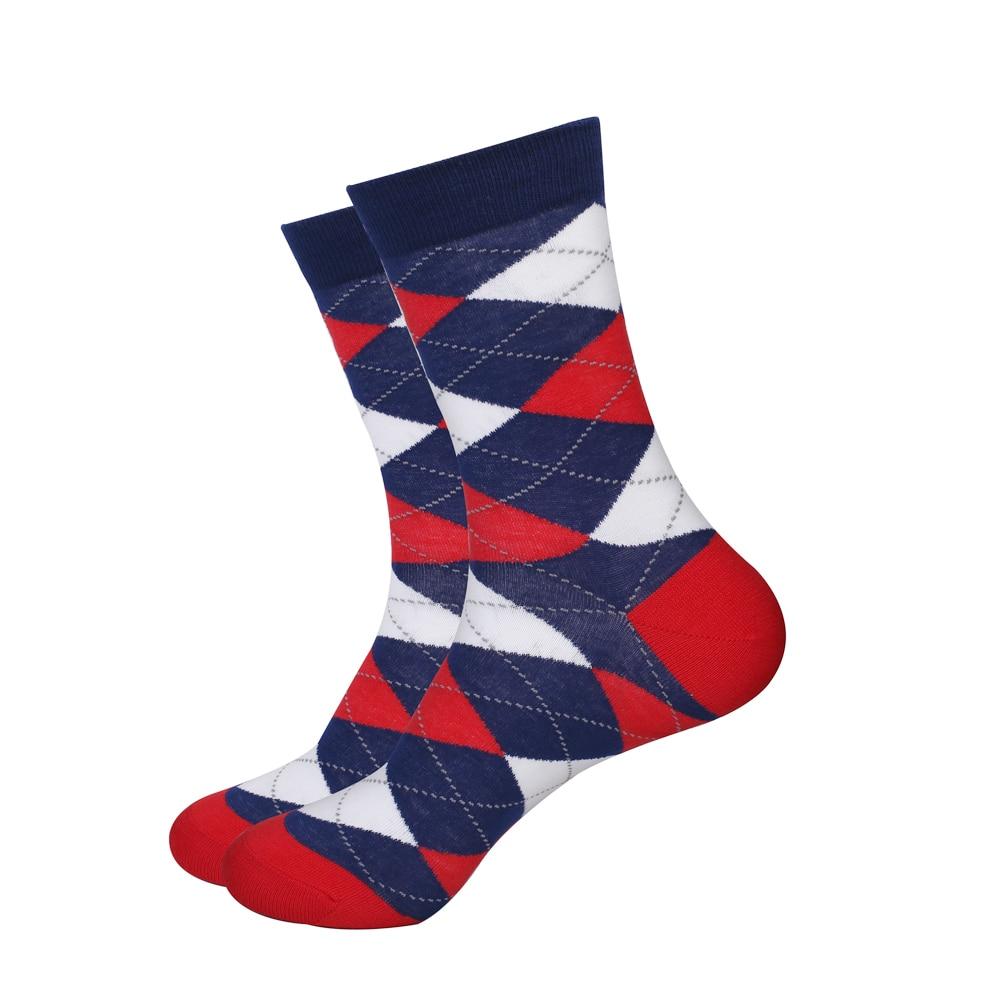 EU 36-44 Fashion GentleMens Gift Breathable Argyle Diamond Dress Socks 80% Combed Cotton Crew Socks Men 1 Pair