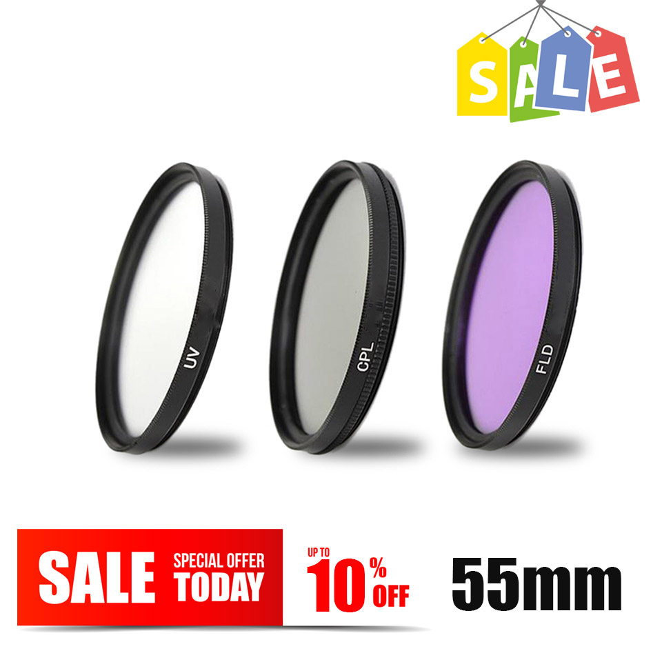 3in1 55mm UV FLD CPL Circular polarizer Lens Filter kit for Nikon D7500 D5600 D5500 D5300 D3300 D3400 D850 D750 AF-P 18-55mm