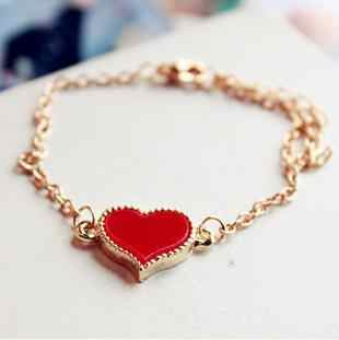 New Fashion Cubic Zirconia Charm Pendant Bracelet for Girls and Women Femme Jewelry Black Red White Heart Christmas Party Gift