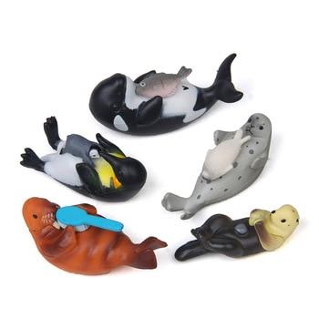 Figuras de acción de 5 uds, Mini Animal de simulación de Vida Marina, pingüino Delfín, nutria de mar, figuritas de juguete de PVC, modelo bonito para decoración del hogar