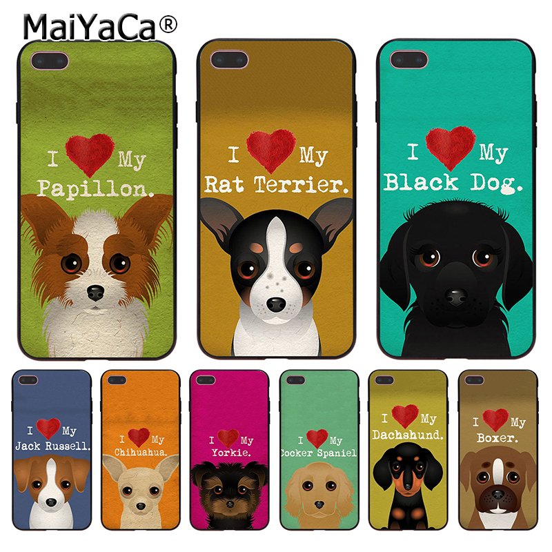 5c76b6738d MaiYaCa I Love My Dog Yorkie Papillon boxer lovely Phone Accessories Case  for Apple iPhone 8 7 6 6S Plus X 5 5S SE 5C Cover