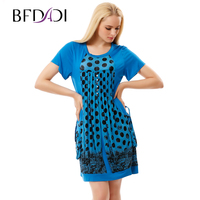 BFDADI Brand Dress Summer Women High Quality Draped Patchwork Pockets Mini Dress Casual Short Sleeve Slim