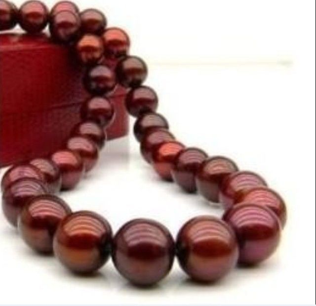 2015 Lovely 10mm Chocolate South Sea Shell Pearl Necklace Pearl Beads Fashion Jewelry Rope Chain Necklace Natural Stone 18INCH