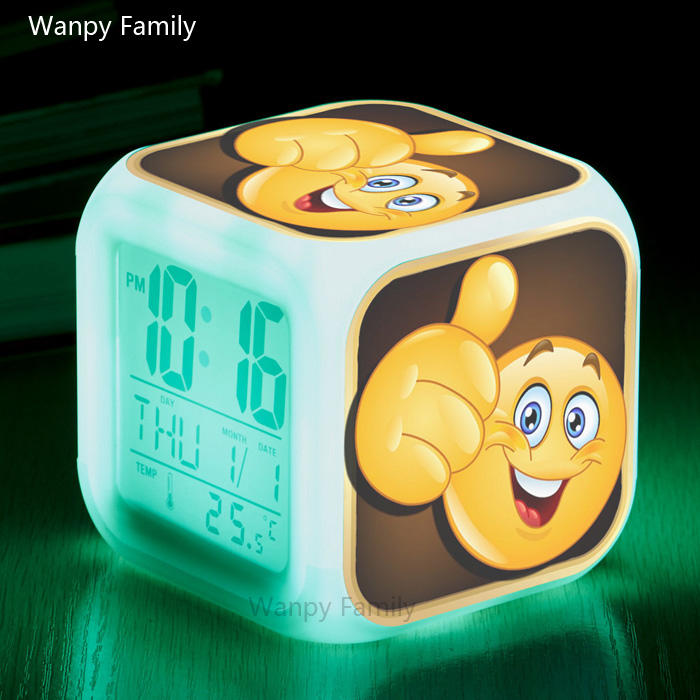 Wanpy Family Funny expression Emoji Digital Alarm Clock For Children 39 s room Bedside Desktop Color Changing Alarm Clock in Alarm Clocks from Home amp Garden